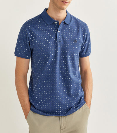 Printed Slim Pique Polo Shirt Blue