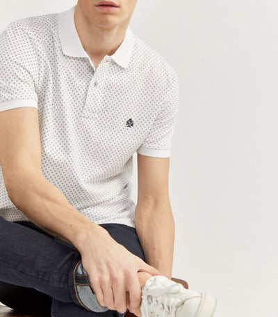 Printed Pique Polo Shirt White