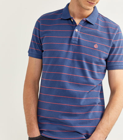 Slim Fit Stripe Polo Shirt Blue