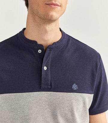 Mao Collar Slim Polo Shirt Navy Blue and Gray