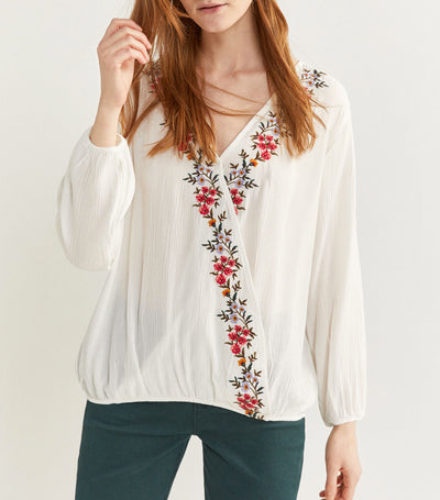 Crossover Blouse with Floral Embroidery