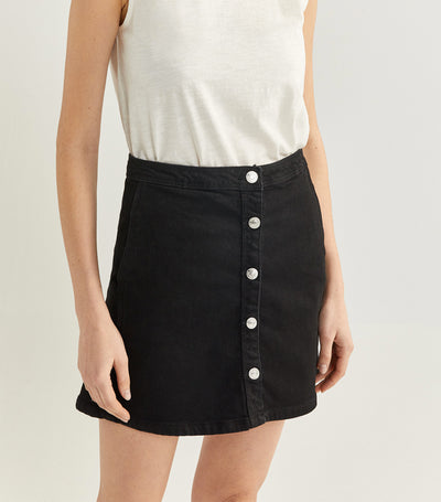 Denim Skirt with Buttons Black