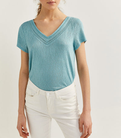 V-Neck Lace T-Shirt Aqua
