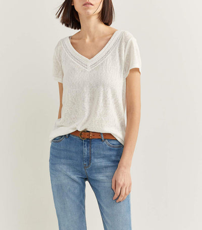 V-Neck Lace T-Shirt White
