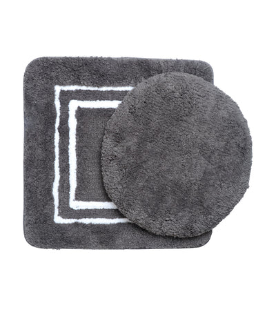 rustans home three-piece gray bathroom rug and mat, contour lid and cover set