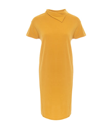 lady rustan eve asymmetrical collar shift dress