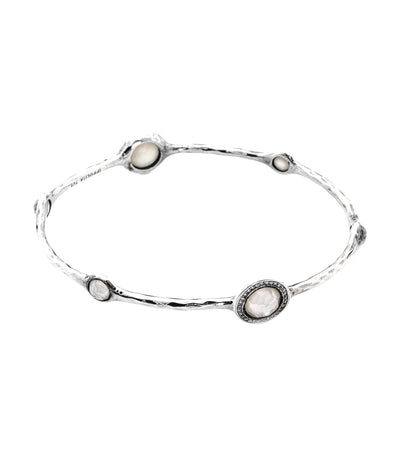 ippolita sterling silver stella bangle in mother of pearl doublet with diamond