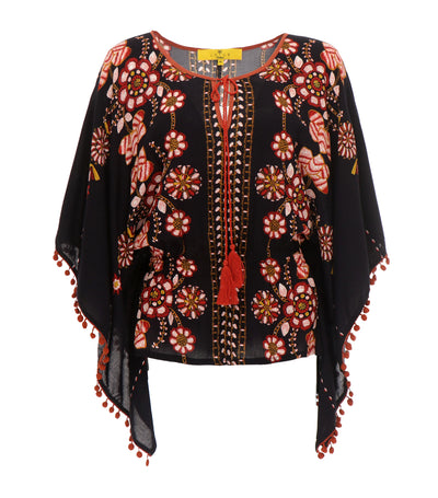 lotus resortwear malaga printed caftan blouse black