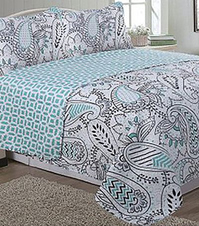 home&main monica printed faux quilt set king