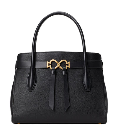 Toujours Medium Leather Satchel Black