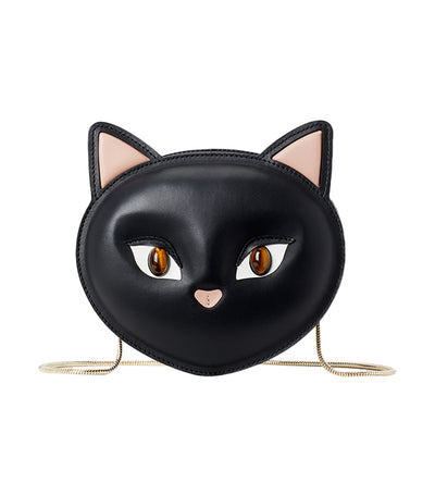 Cat Leather Crossbody Black
