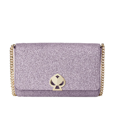 Nicola Shimmer Twistlock Chain Wallet Lilac