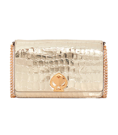 Romy Metallic Croc-Embossed Chain Wallet Gold