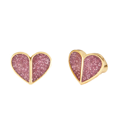 Heritage Spade Glitter Heart Stud Earrings Pink