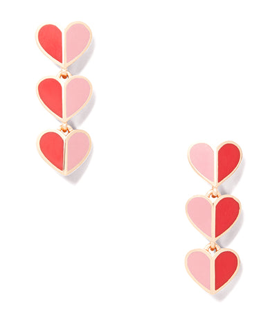 Heritage Spade Enamel Heart Linear Earrings Pink