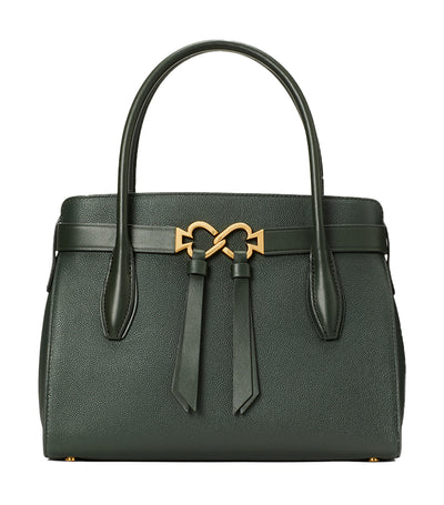 Toujours Medium Leather Satchel Deep Evergreen