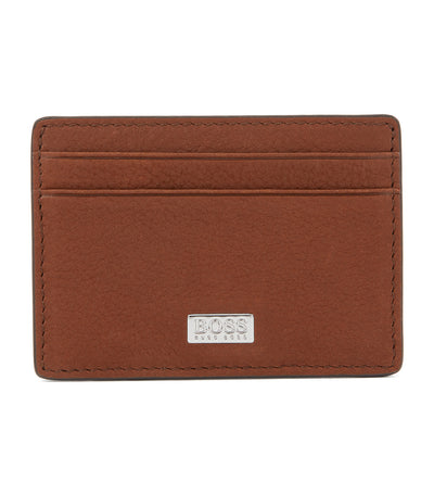 Money Clip in Grained Italian Leather with Card Slots Light Brown