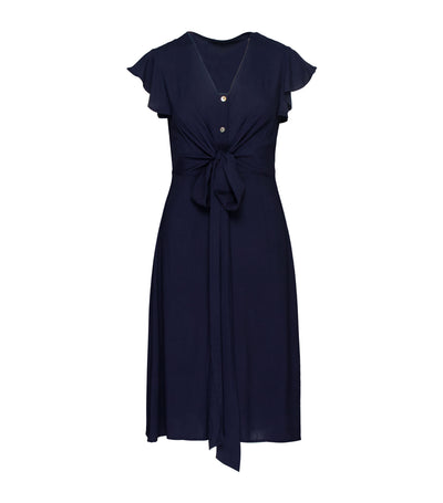 Sabine Flutter Sleeve Front Tie Dress
