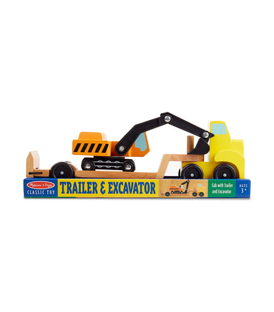 melissa & doug trailer & excavator wooden vehicles play set