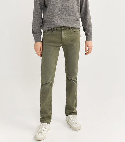 Slim Fit Washed Five-Pocket Trousers Green