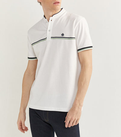 Mao Collar Polo Shirt White