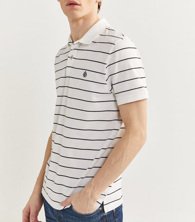 Slim Fit Stripe Polo Shirt White