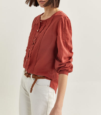 Embroidered Blouse Brick