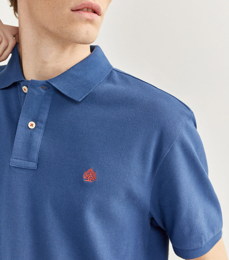 Essential Pique Polo Shirt Medium Blue