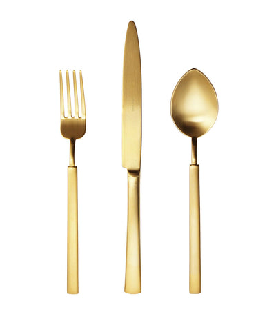 herdmar vintage 24-piece flatware set with mat gold PVD finish