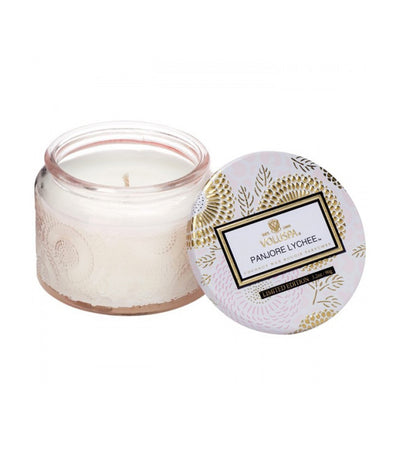 voluspa panjore lychee petite candle in colored jar with lid