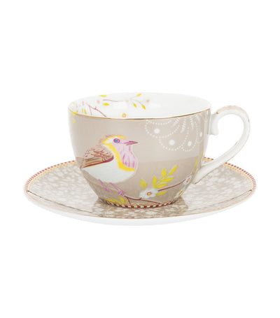 pip studio early bird khaki cappuccino cup and saucer