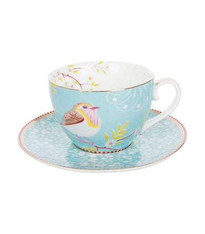 pip studio early bird blue cappuccino cup & saucer