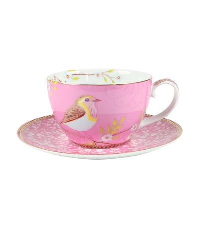 pip studio early bird pink cappuccino cup & saucer