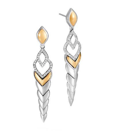Legends Naga 18K Gold Silver Diamond Pavé Long Drop Earrings