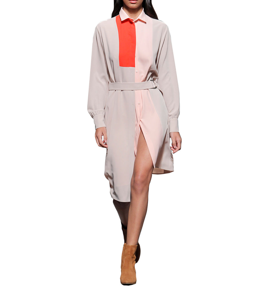 Aquamarine Color-Block Shirt Dress Beige and Peach