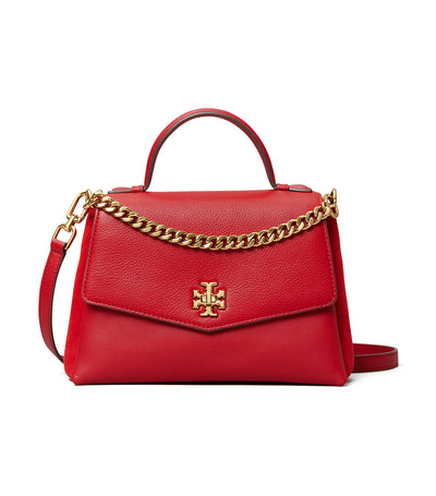 Kira Mixed-Materials Top-Handle Satchel Red Apple