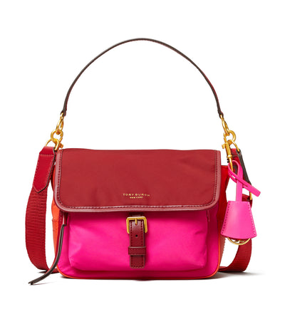 Perry Nylon Color-Block Crossbody Redstone, Bright Pink, and Bright Samba