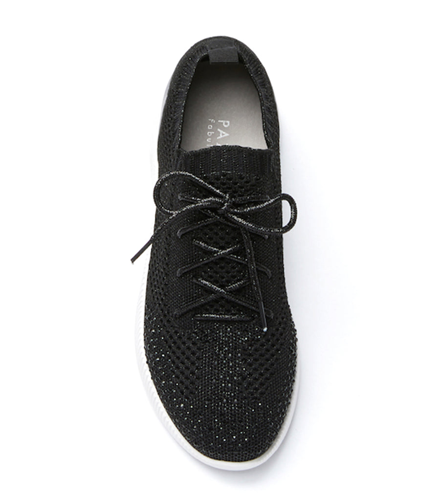 Knit Lace Up Sneakers Black