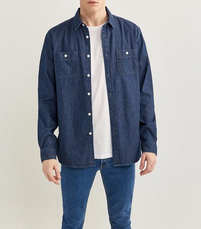 Long-Sleeved Denim Shirt Dark Blue