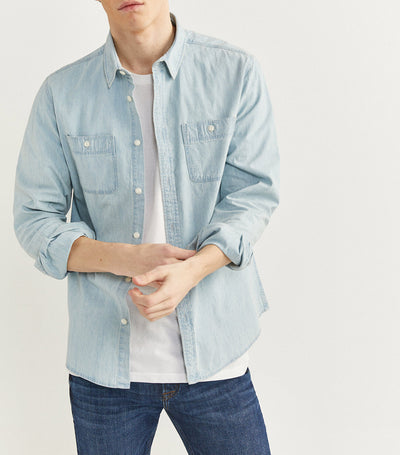 Long-Sleeved Denim Shirt Light Blue