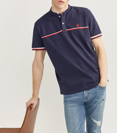Mao Collar Pique Polo Shirt Blue