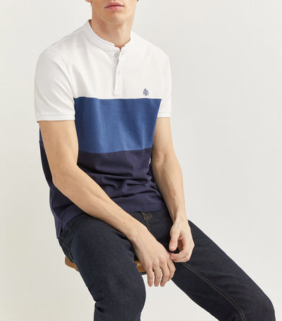 Mao Collar Slim Polo Shirt White and Blue