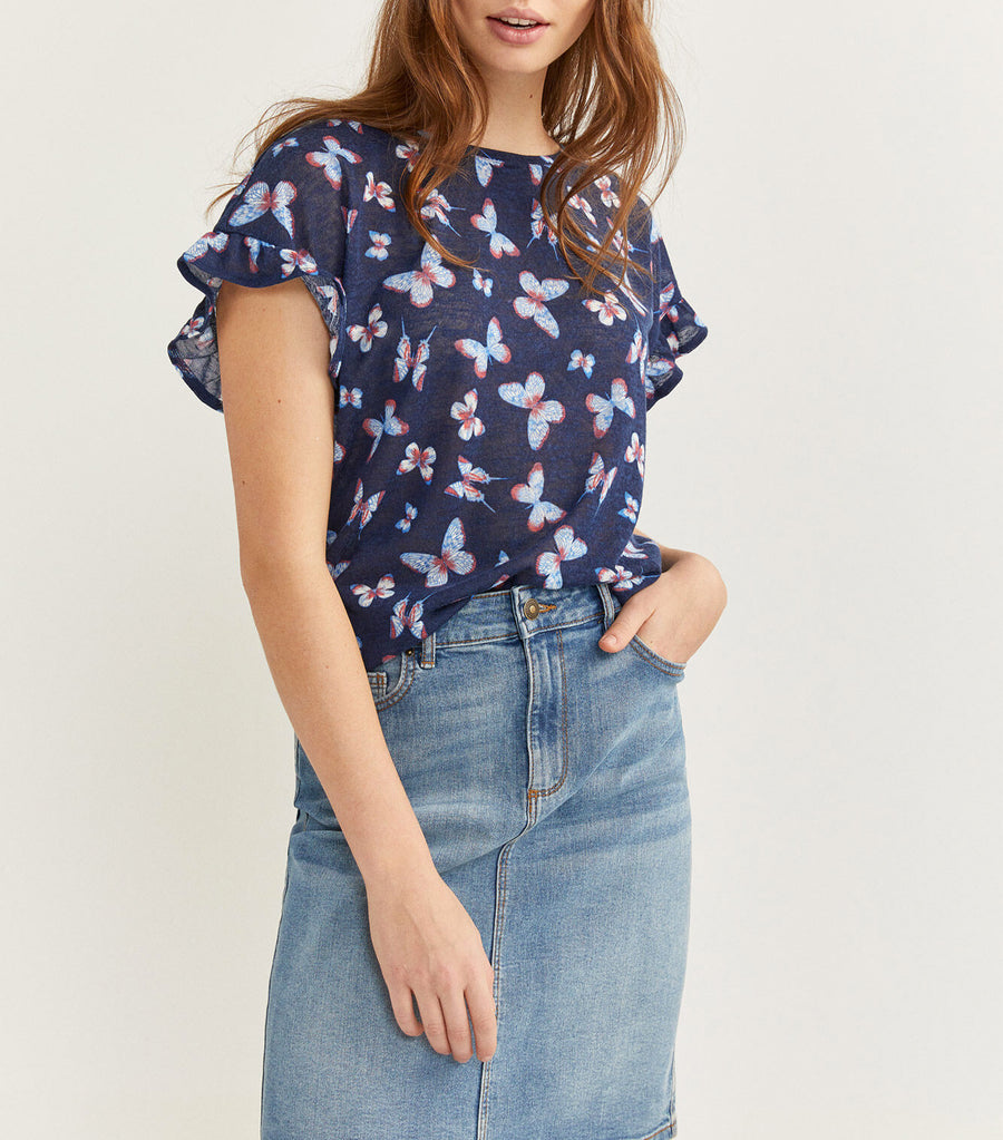 Printed Flounced T-Shirt Blue