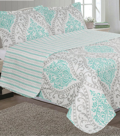 home & main shannon printed faux quilt set full/queen