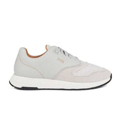 Two-Tone Trainers in Knitted Fabric and Grained Leather Light Gray