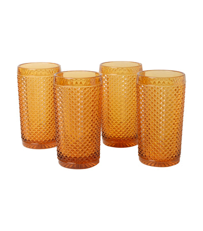 vista alegre bicos ambar set with 4 highballs