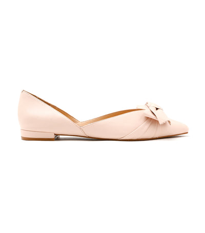 Oversized Knotted Bow Pointed Toe Leather Flats Pink