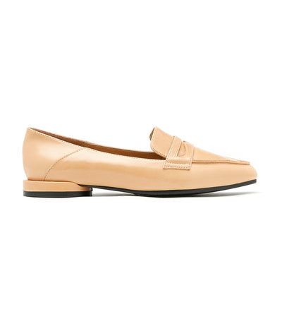 Pointy Toe Leather Loafers Almond