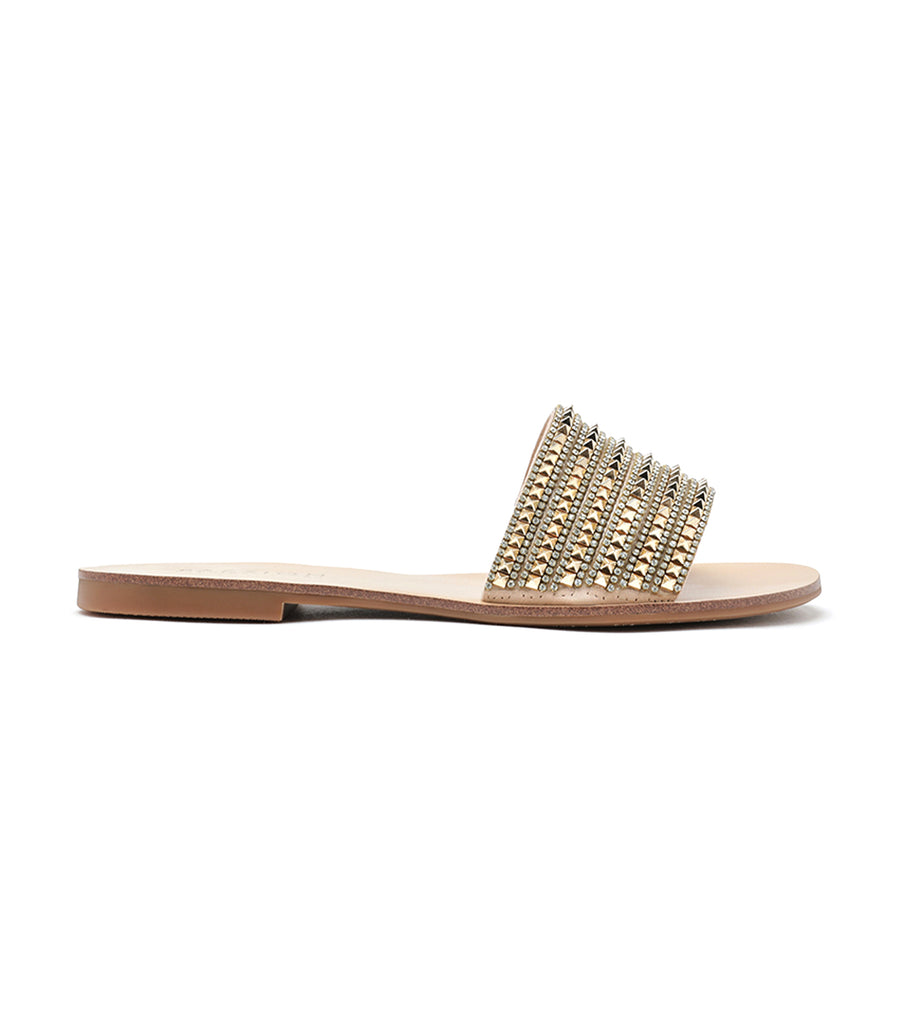 Diamante Embellished Slides Gold
