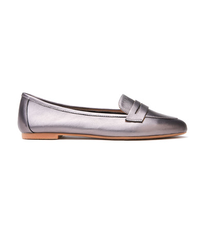 Shimmer Penny Strap Loafers Pewter